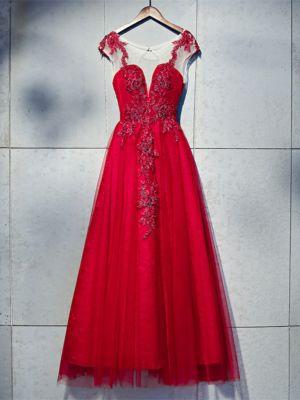 1d014f4e63ea66 -60%. Rating: 0%. Schöne Abendkleid Ballkleider U Boot Ausschnit  Rückenausschnitt Lang Rot Tüll Blumen Perlen