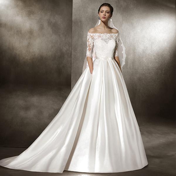 Luxus kaufen Fabrik authentisch großer Rabatt Designer A Linie Brautkleid Carmen Ausschnitt Schlicht Satin ...