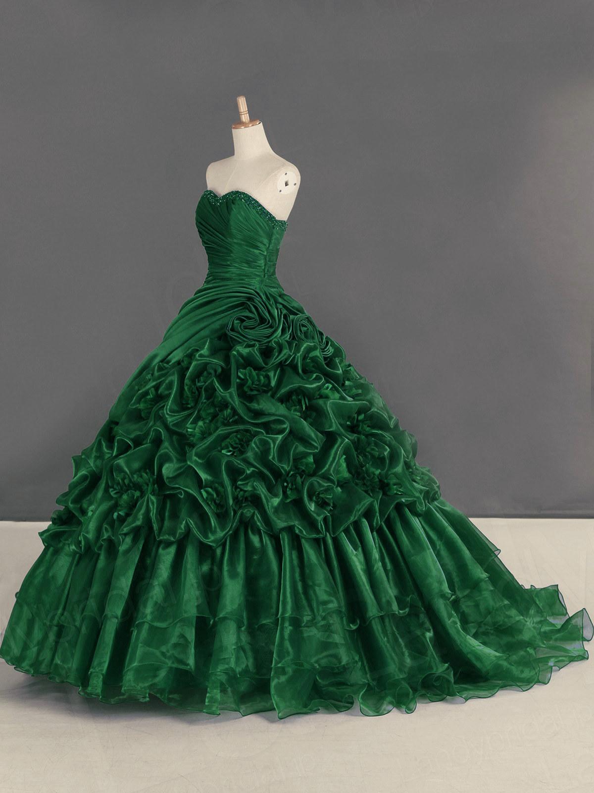 duchesse ballkleid abendklied brautkleid herzausschnitt grün organza blumen  rüschen