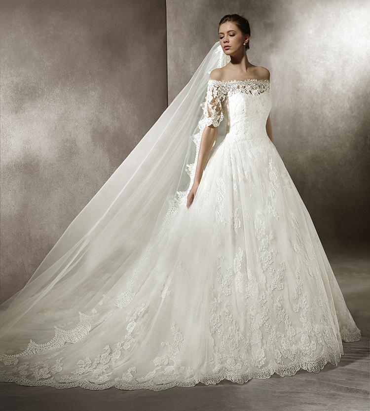 Schleppe Hochzeitskleider Prinzessin Glitzer