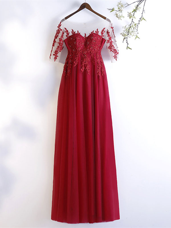 b3c702f9c89fb0 Elegante Abendkleid Ballkleider Empire U Boot Ausschnitt Lang Rot Tüll  Spitze Mit Ärmel