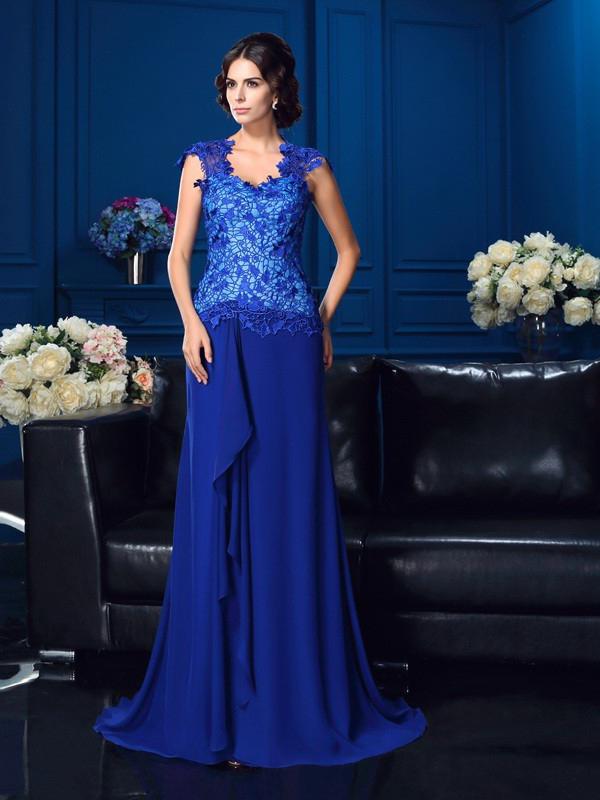 Elegante Abendkleid Brautmutterkleider Lang Blau Spitze Chiffon Mit Ruschen
