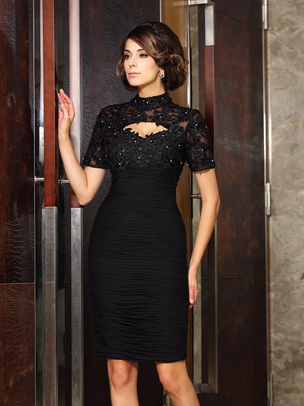 Elegante Abendkleid Brautmutterkleider Stehkragen Knielang Schwarz Mit Armel