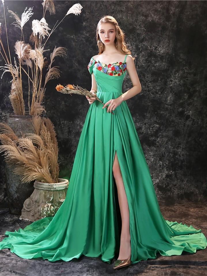 Elegante Abendkleider Lang Grun Seide Blumen Mit Spaghettitrager Schlitz