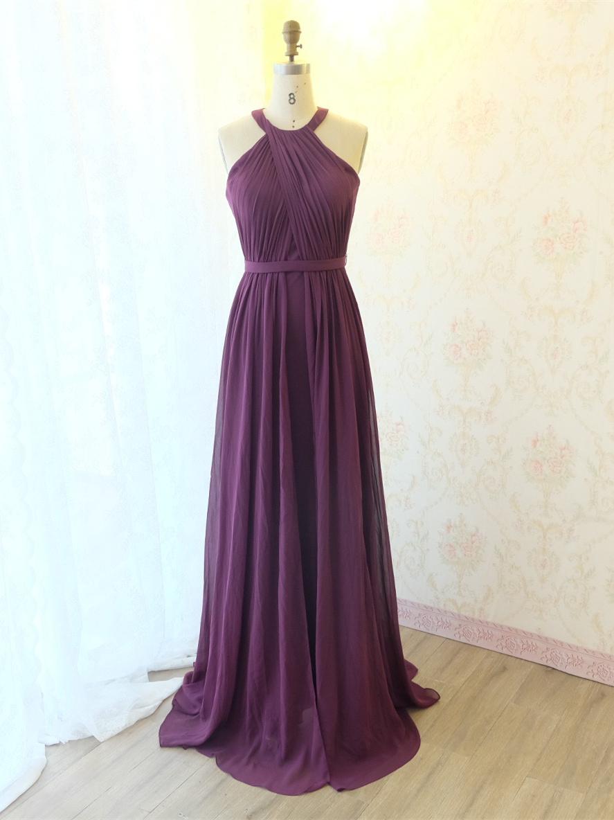 Elegante Brautjungfernkleider Abendkleid Lang Lila Chiffon Mit Falten