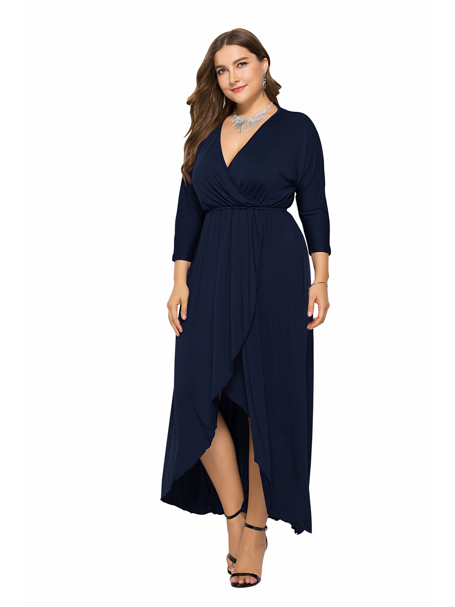 Elegante Kleid Große Größe Schwarz Jersey Vokuhila Langarm V Ausschnitt
