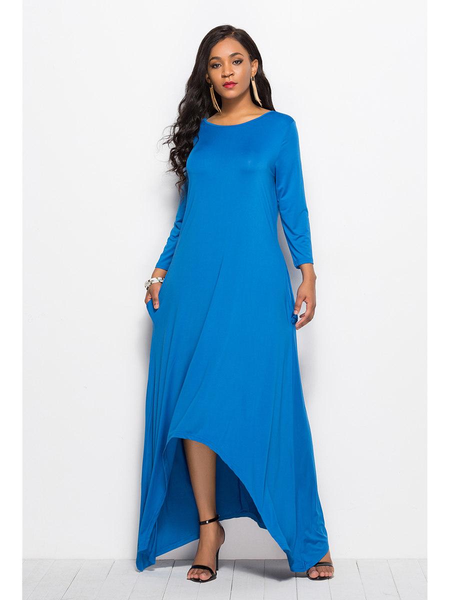 elegante kleid vokuhila langarm blau jersey u boot ausschnitt