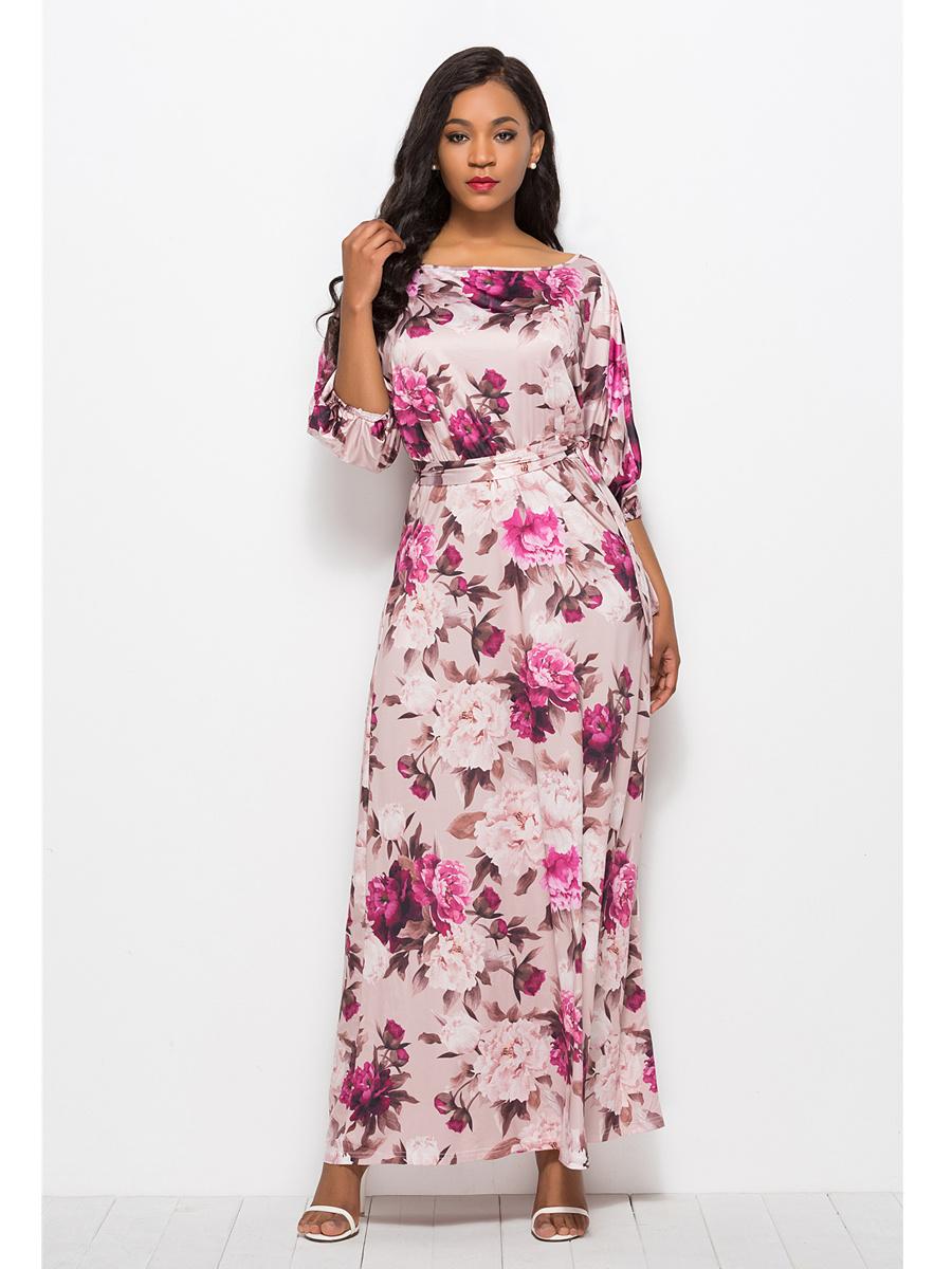 elegante maxikleid wickelkleid blumen kleid u boot ausschnitt mit Ärmel