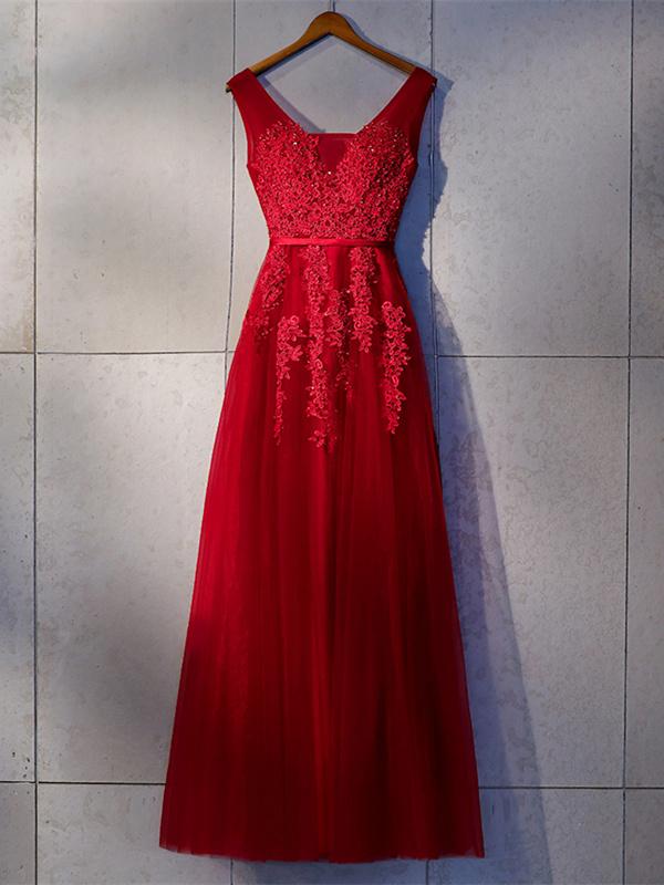 1017e78df1fcde Elegante Rückenfreies Abendkleid Ballkleider V Ausschnitt Lang Rot Tüll  Blumen Perlen