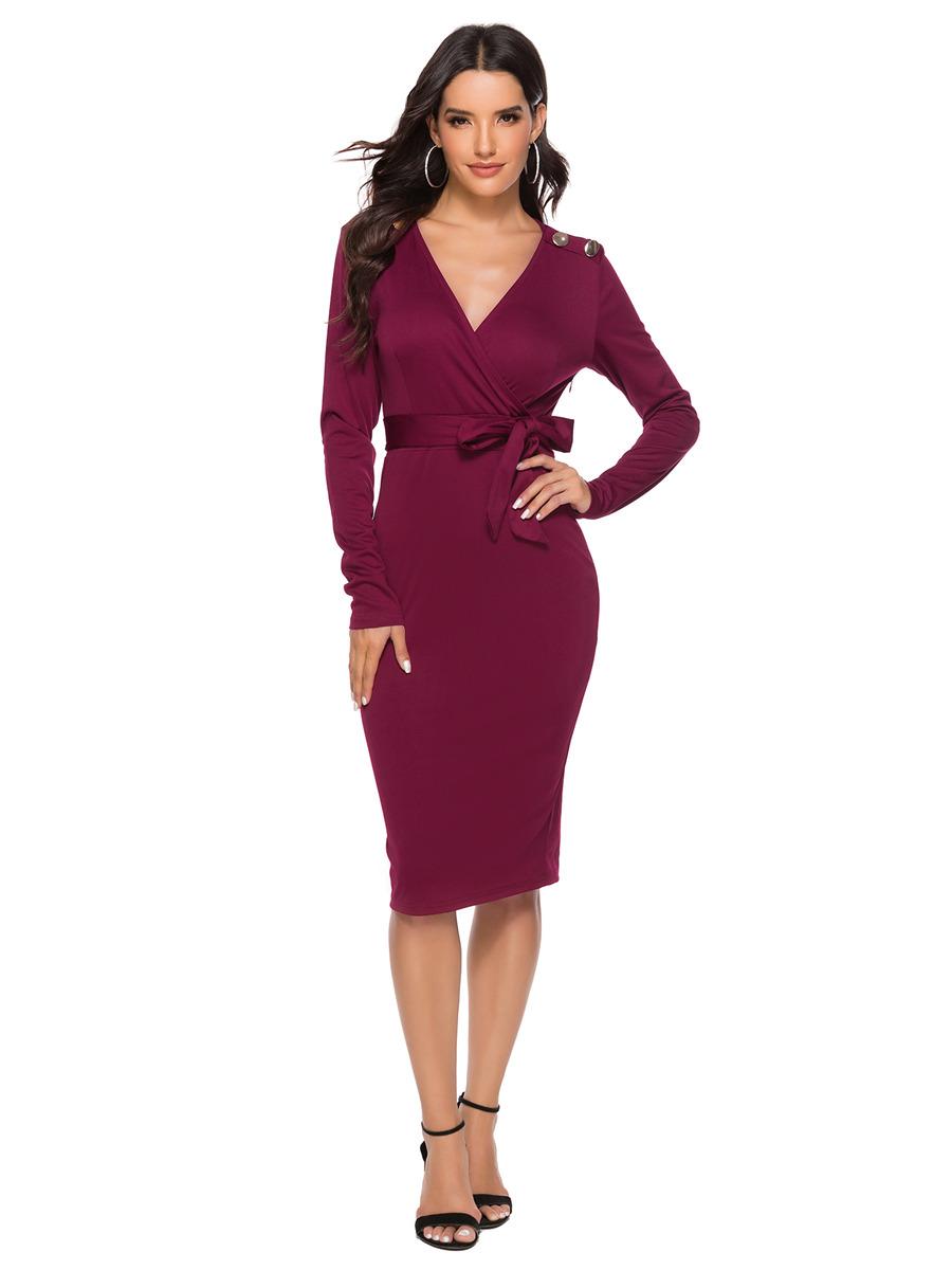 Etuikleid Bordeaux Pencil Kleid Knielang Langärmliges Kleid V Ausschnitt