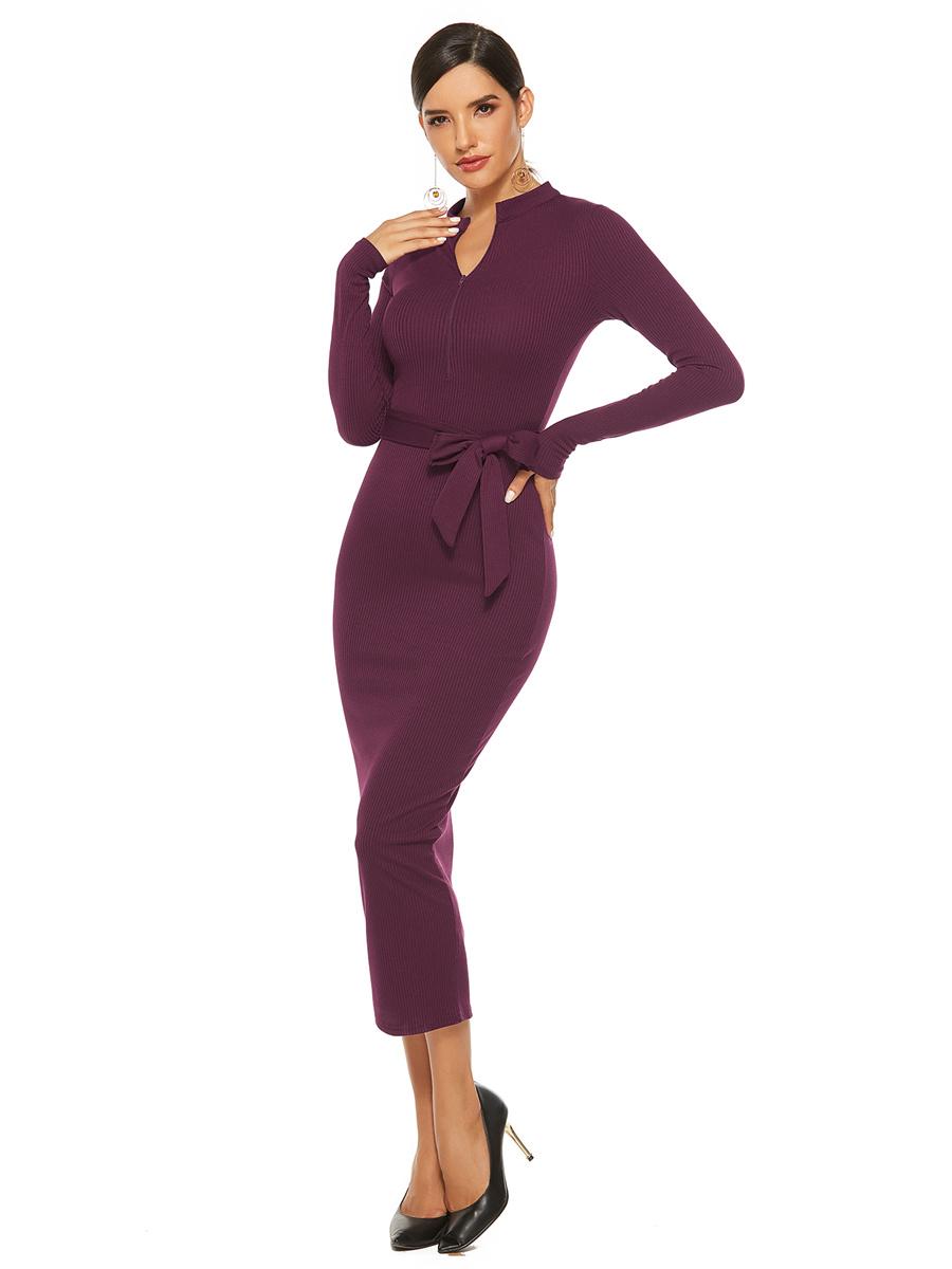 Etuikleid Bordeaux Pulloverkleid Wadenlang Langärmliges Kleid Mit Kragen