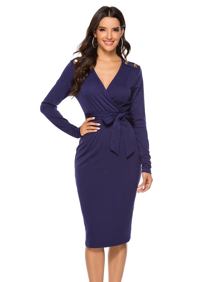 etuikleid dunkelblau pencil kleid knielang langärmliges kleid v ausschnitt