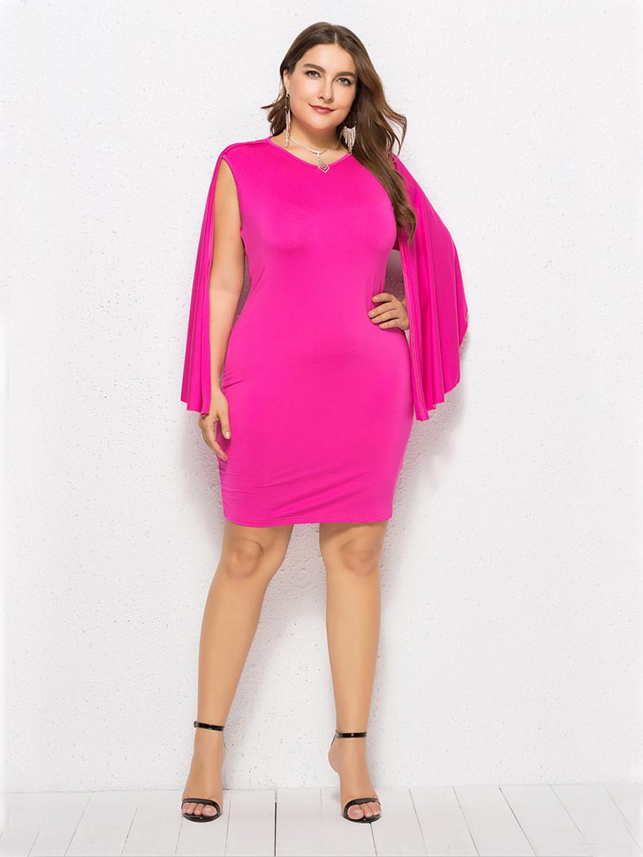 Etuikleid Große Größen Kleid Für Mollige Kurz Pink Mit Umhang