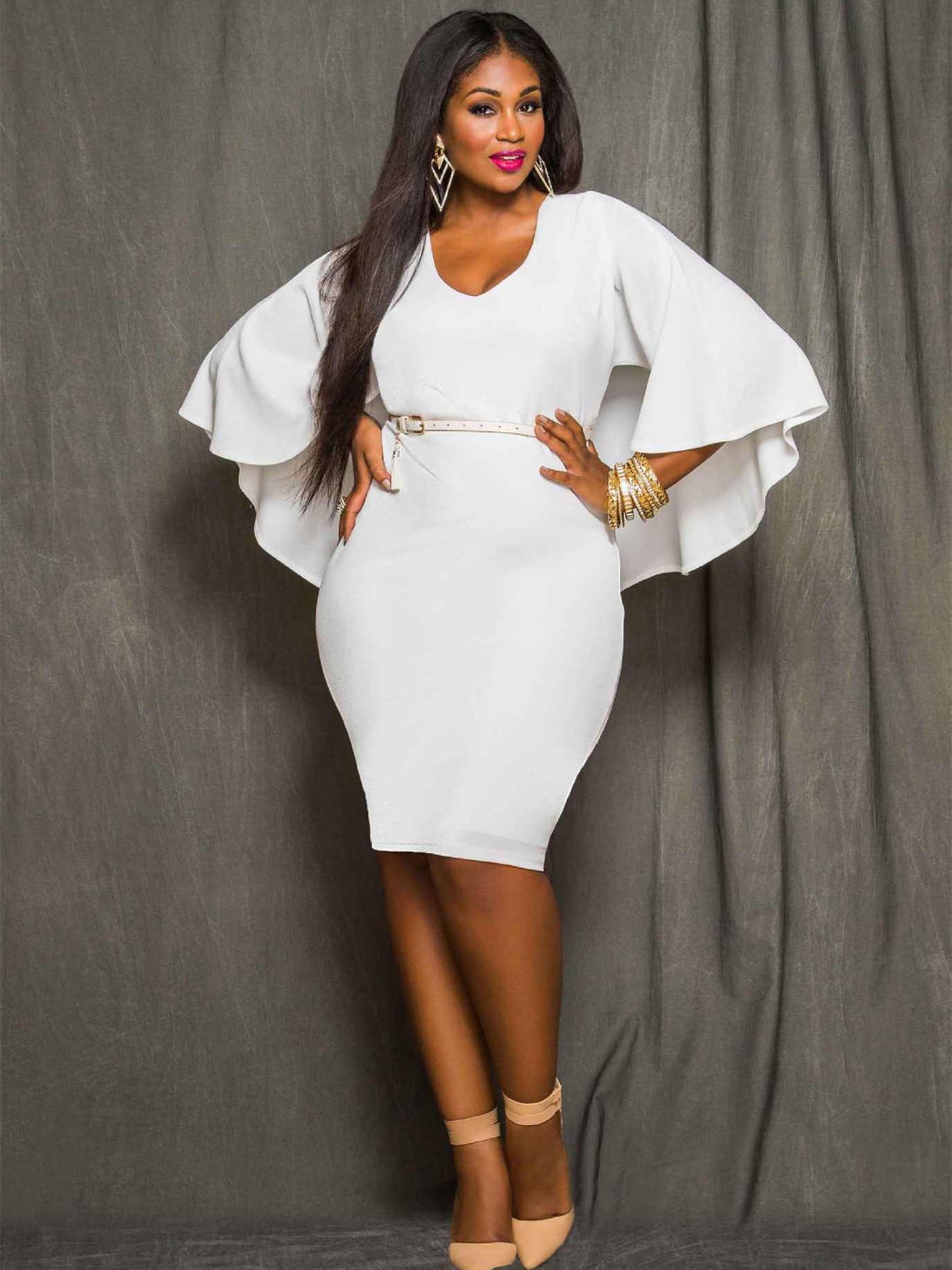 Etuikleid Große Größen Kleid Für Mollige Kurz Weiß Mit Umhang V Ausschnitt