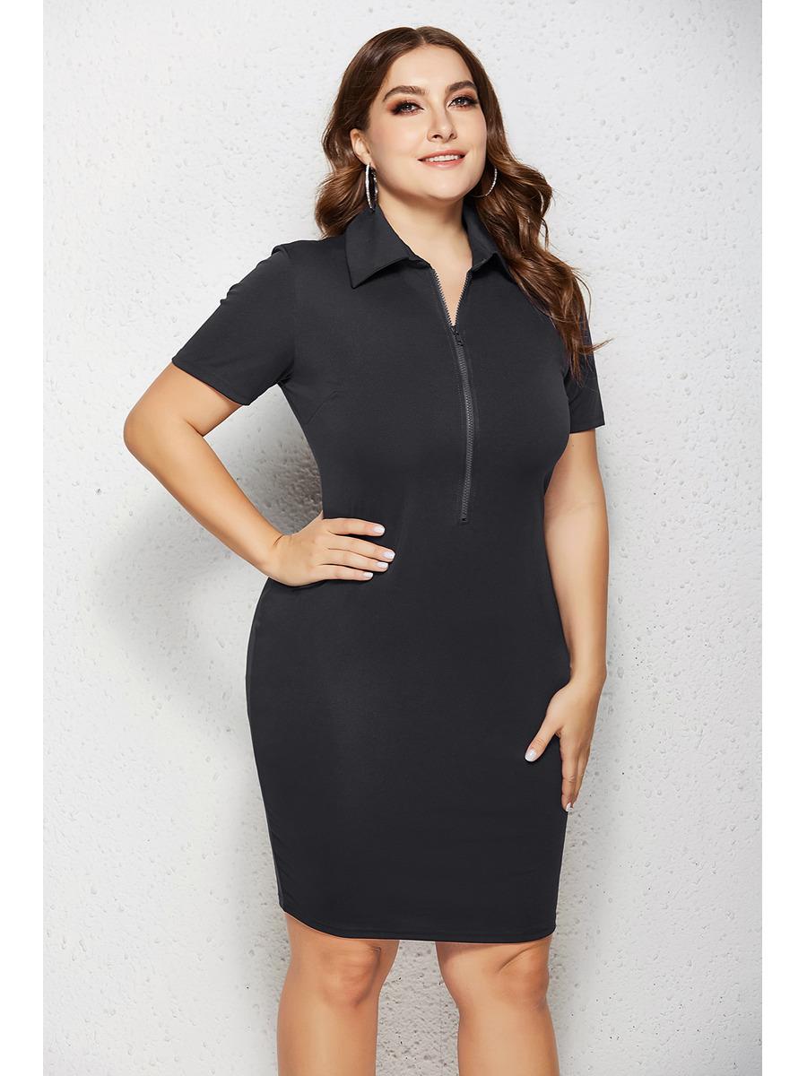 Etuikleid Große Größen Pencil Kleid Schwarz Für Mollige Mit Kragen Ärmel