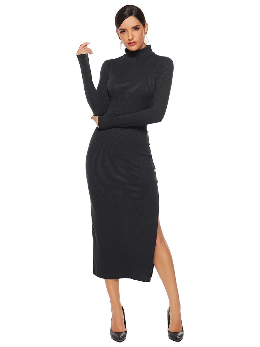 etuikleid langarm pulloverkleid schwarz pencil kleid stehkragen mit schlitz