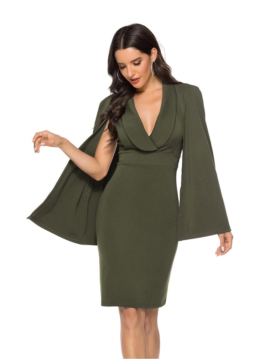 Etuikleid Olivgrün Pencil Kleid Knielang Langärmliges Kleid V Ausschnitt  Mit Kragen