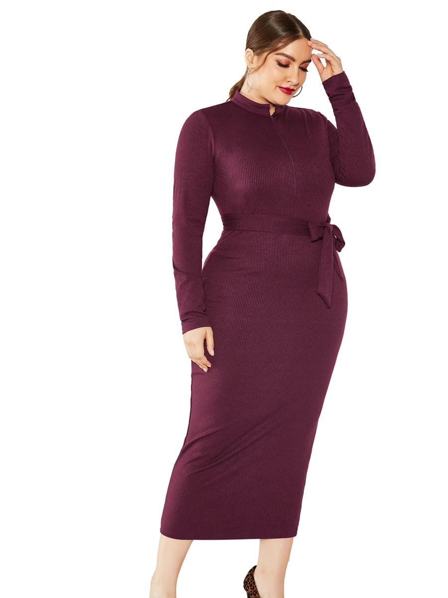 Etuikleid Pulloverkleid Große Größen Bordeaux Langärmliges Kleid Mit Kragen