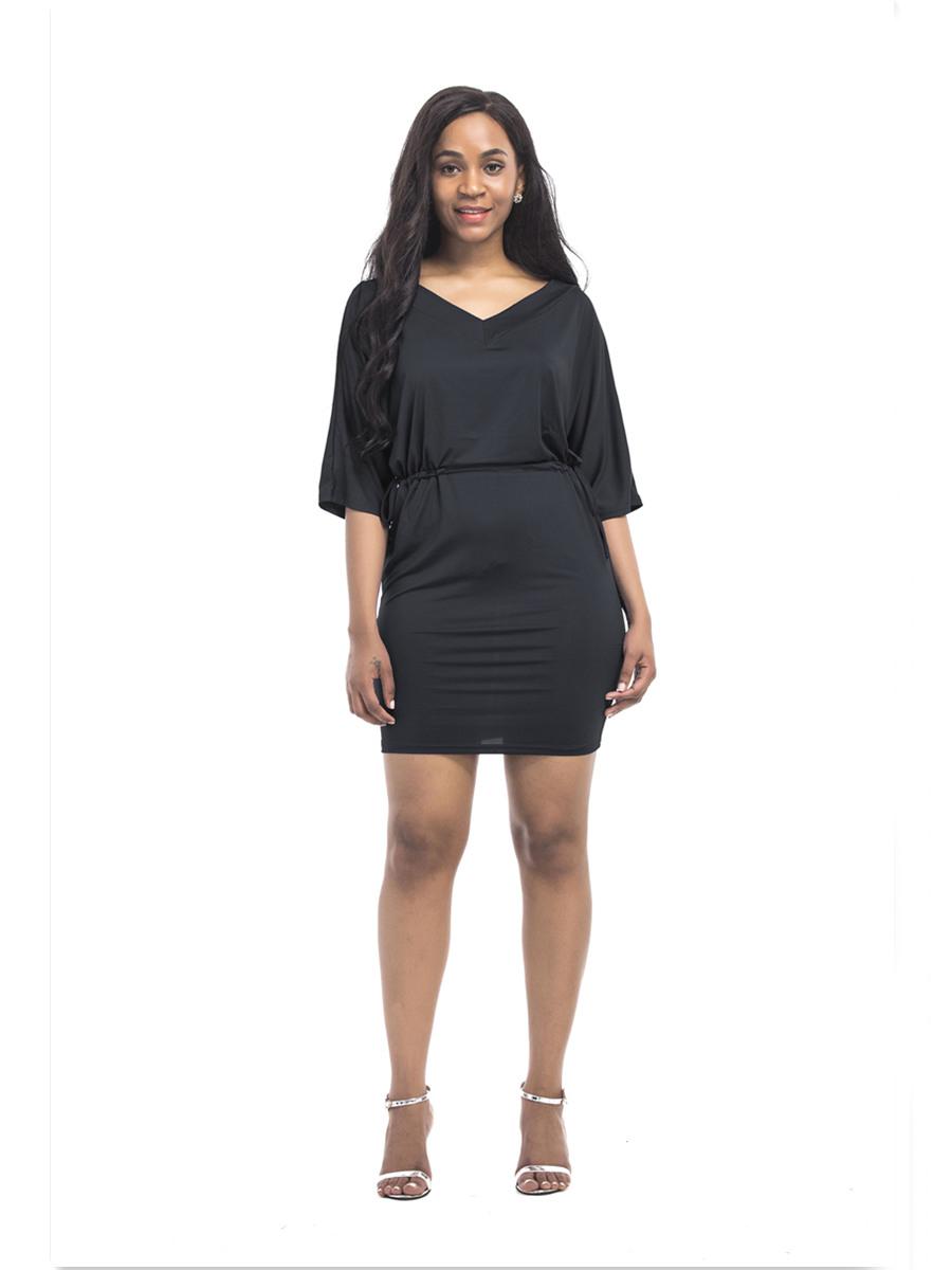 etuikleid somme kleid schwarz kurz v ausschnitt mit Ärmel