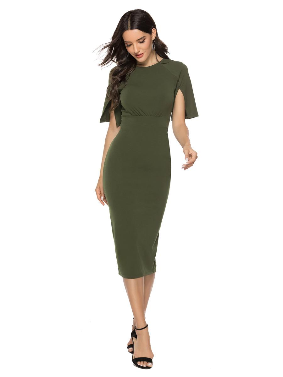 Etuikleid Wadenlang Pencil Kleid Olivgrün Mit Geschlitzte Ärmel