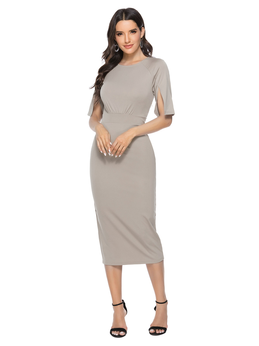 Etuikleid Wadenlang Pencil Kleid Silber Mit Geschlitzte Ärmel