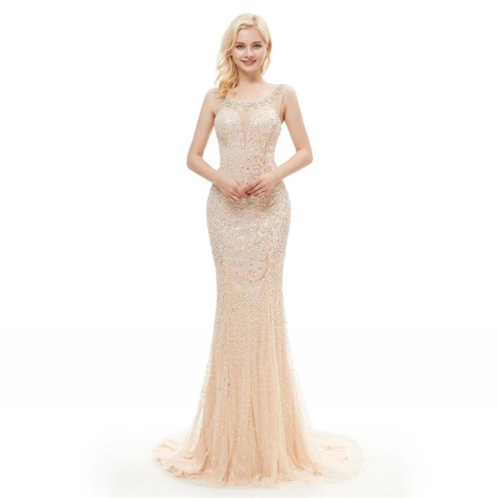Festliche Kleider Abendkleid Meerjungfrau U Ausschnitt Rückenfreies Lang  Beige Tüll Mit Perlen
