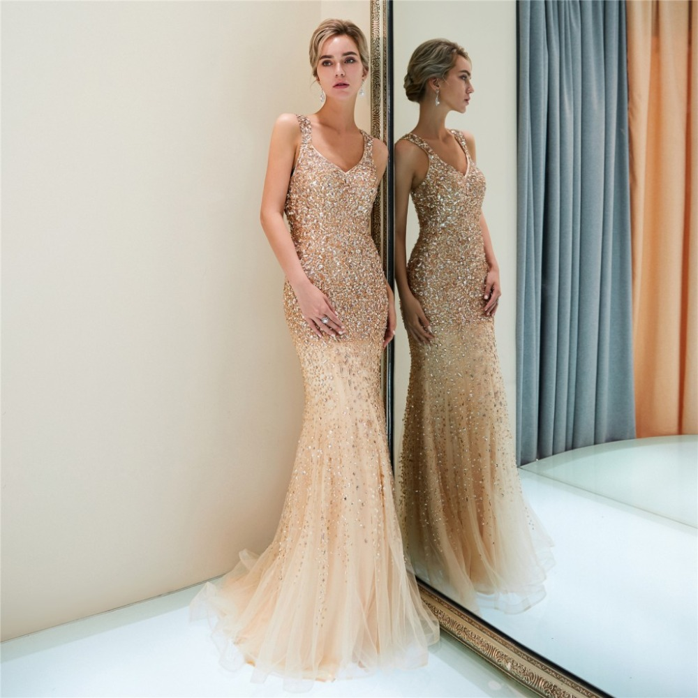 Glitzer Festliche Abendkleid Ballkleid Meerjungfrau V Ausschnitt Lang Gold  Tüll Perlen Strass
