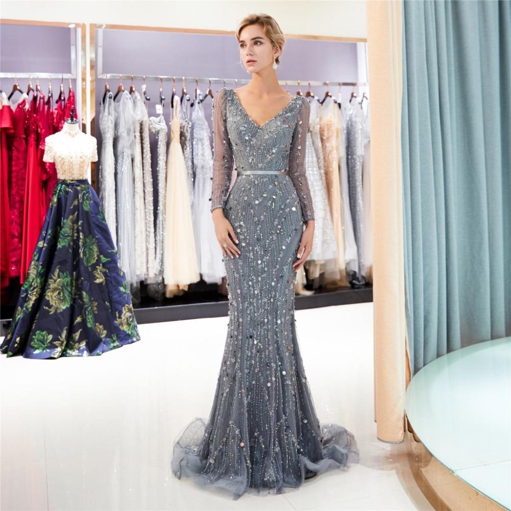 Glitzer Festliche Abendkleid Ballkleid Meerjungfrau V Ausschnitt Langarm  Grau Tüll Mit Perlen Pailletten