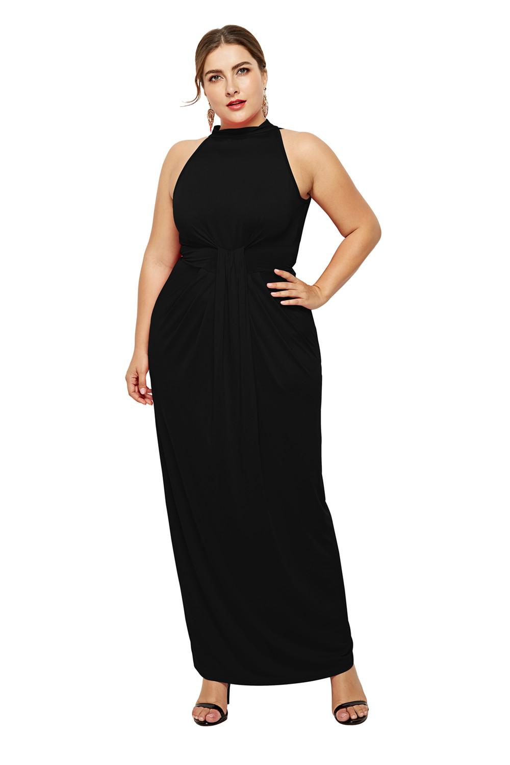Kleid Große Größen Für Mollige Hochgeschlossen Ärmellos Lang Dunkelblau  Jersey Falten