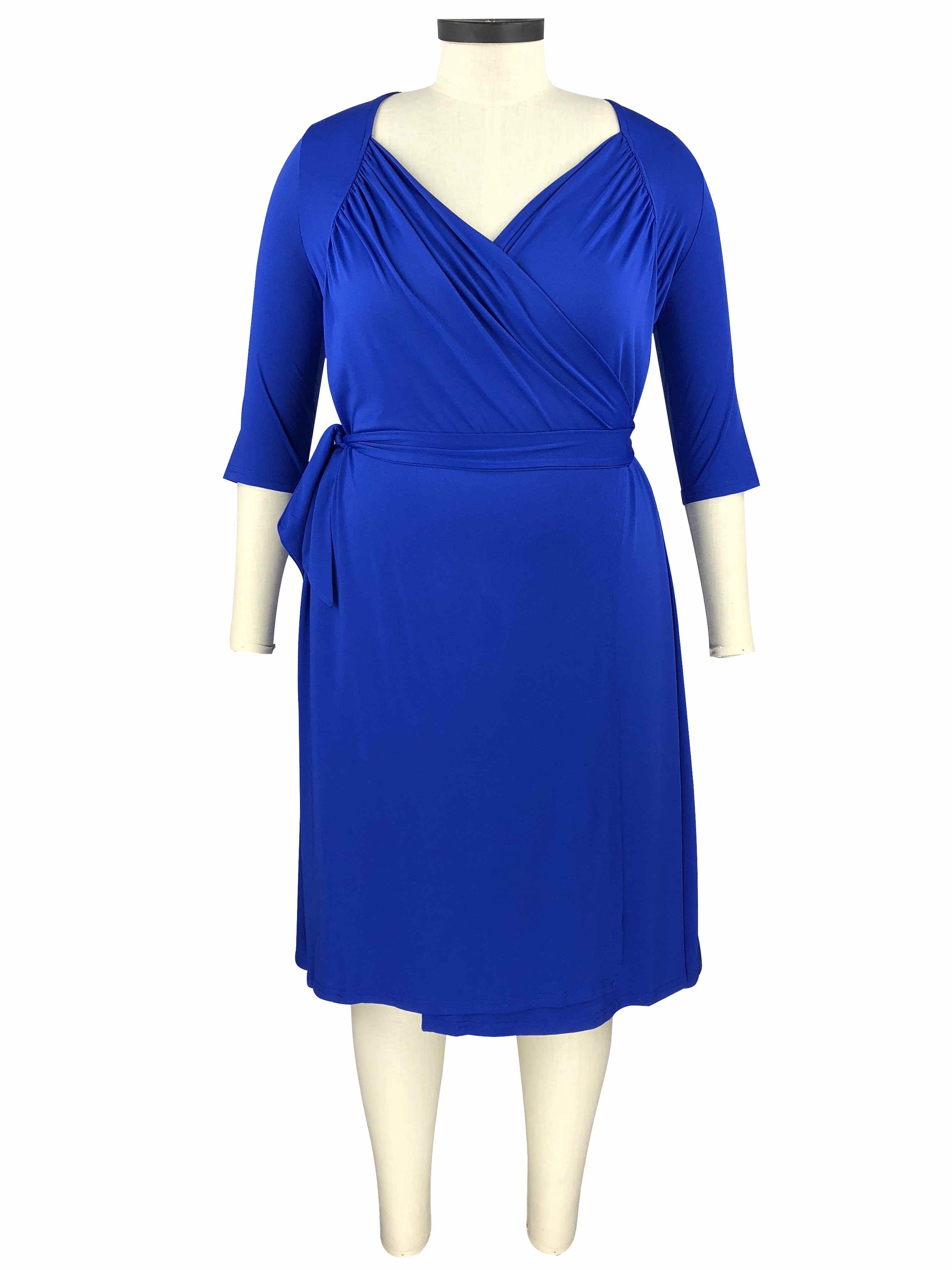 kleid große größen wickelkleid für mollige kurz blau jersey mit Ärmel gürtel