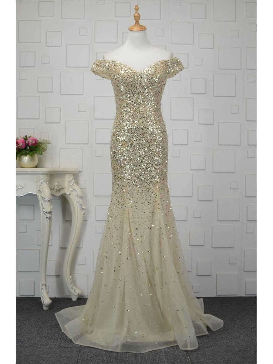 Lusux Abendkleid Lang Gold Tüll Pailletten Glitzer Carmen Ausschnitt