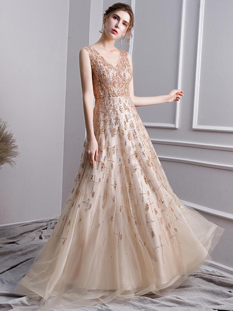 timeless design f7f29 789f3 Luxus A Linie Abendkleid Abiballkleider V Ausschnitt Lang Gold Tüll Perlen  Glitzer