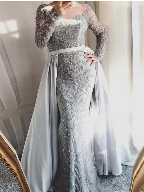 Luxus Abendkleid Ballkleid Illusion U Boot Ausschnitt Langarm Rosa Perlen Mit Schleppe