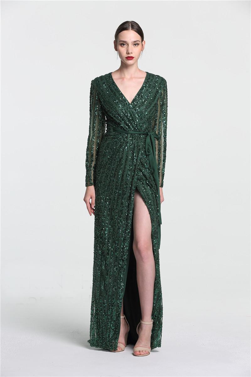 Luxus Abendkleid Ballkleid V Ausschnitt Langarm Dunkelgrün Pailletten  Perlen Mit Schlitz