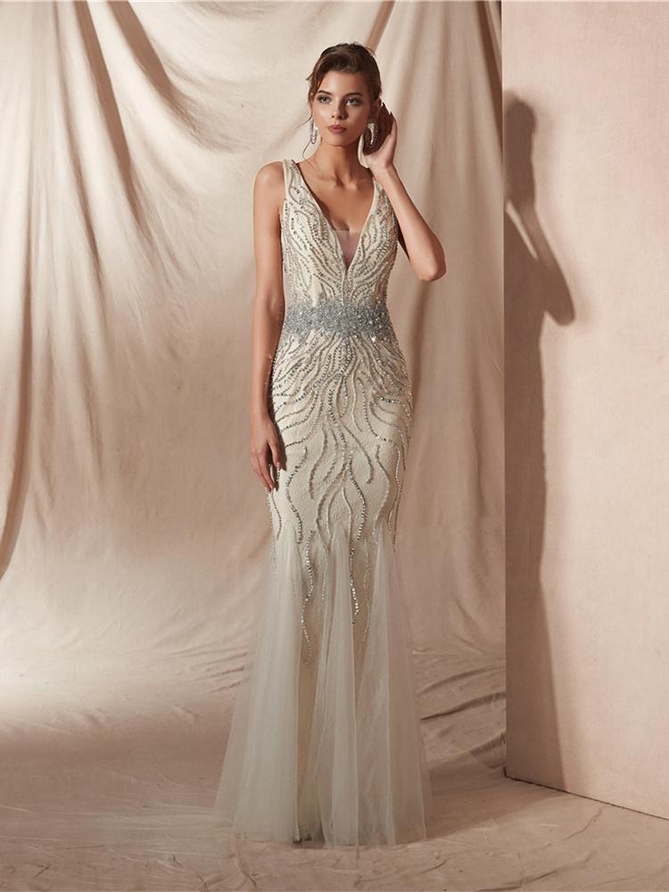 Luxus Abendkleid Meerjungfrau Ballkleider Lang Beige Tull Perlen V Ausschnitt Ruckenfreies