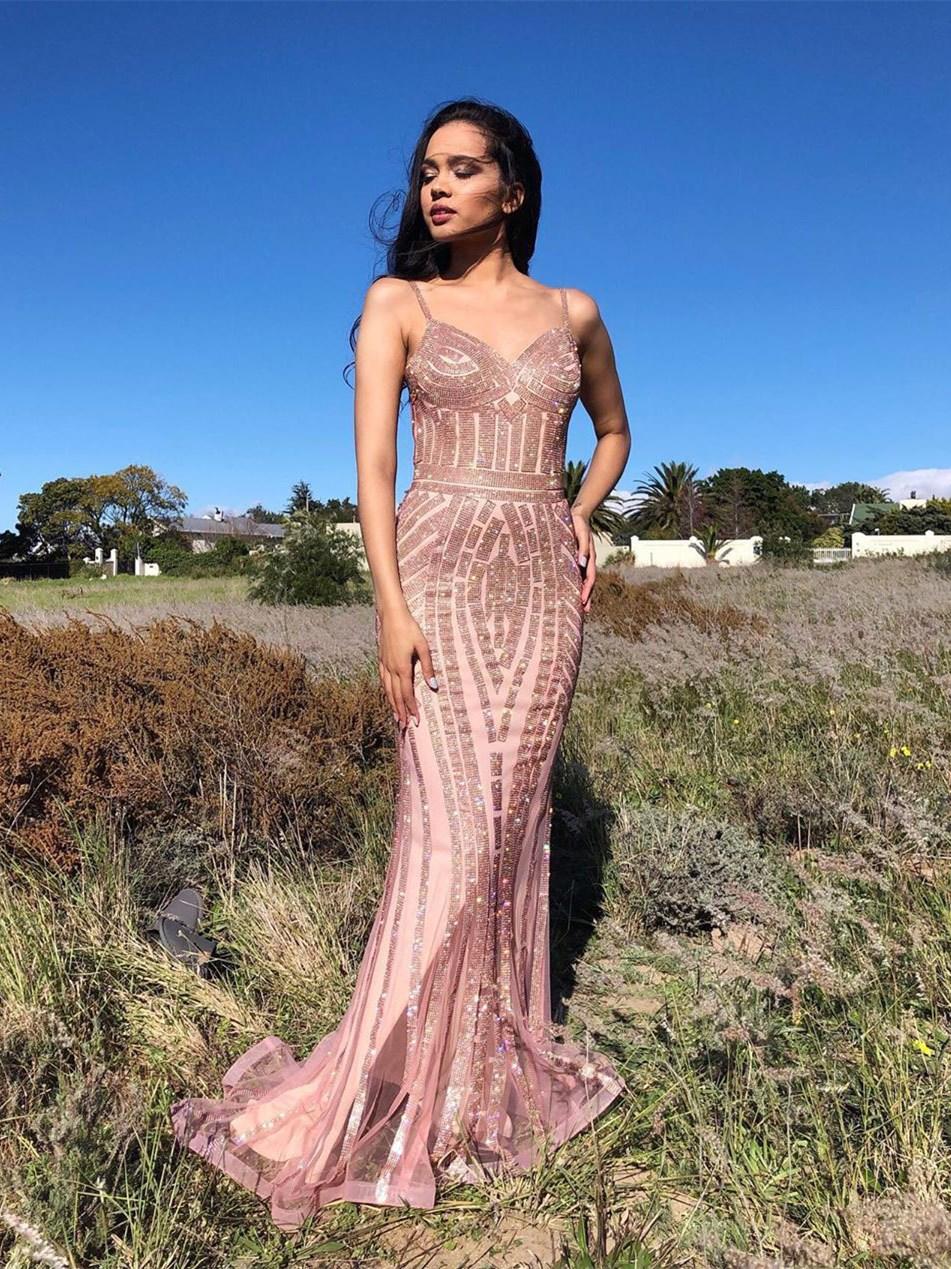 luxus meerjungfrau abendkleid altrosa tüll strass glitzer mit träger  herzausschnitt