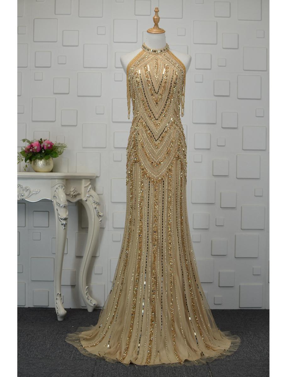 Luxus Meerjungfrau Abendkleid Lang Gold Strass Perlen Glitzer Neckholder