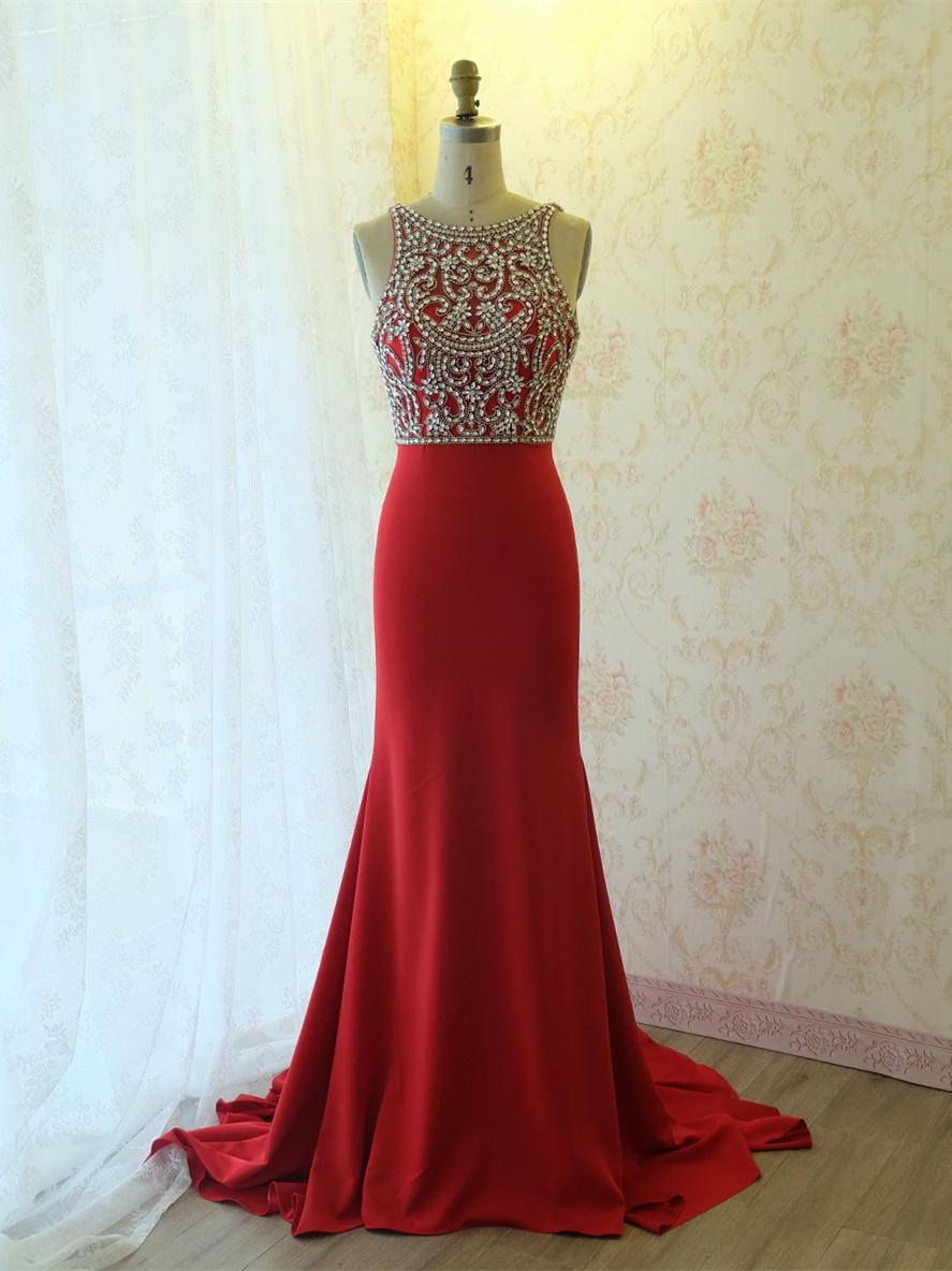 luxus meerjungfrau abendkleid lang rot satin mit strass rückenausschnitt  schleppe