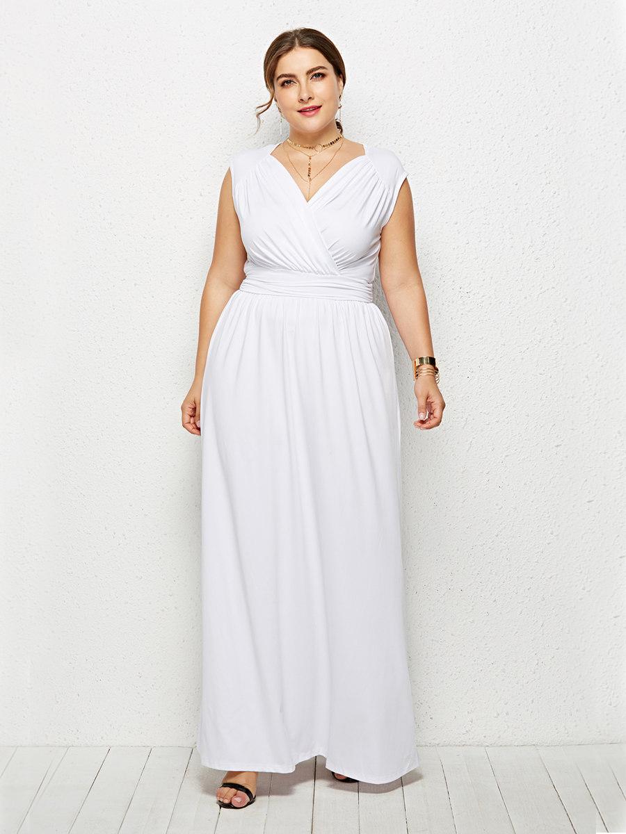 Maxikleid Für Mollige Abendkleid Große Größen Weiß V Ausschnitt