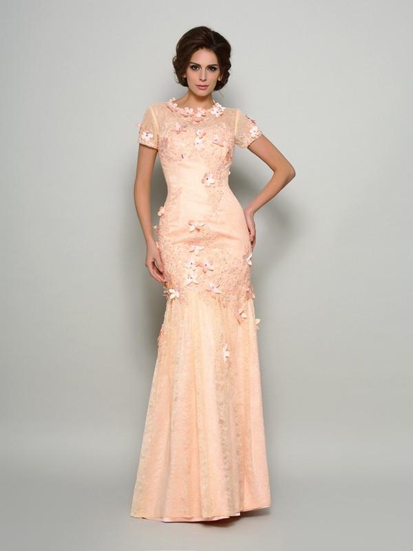 Meerjungfrau Abendkleid Brautmutterkleider Kurzarm Apricot Spitze Mit Blumen Armel