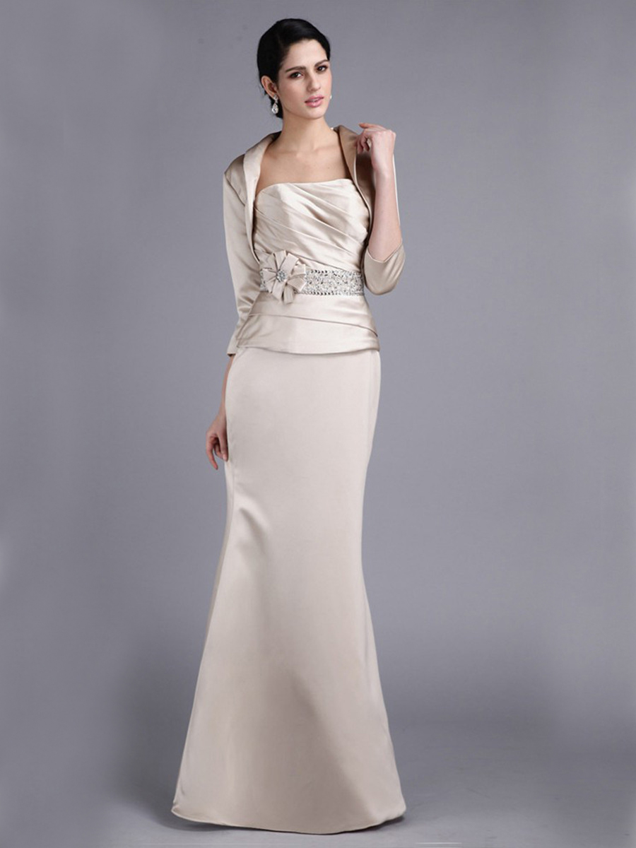 Meerjungfrau Abendkleid Brautmutterkleider Lang Beige Satin Mit Bolero  Jacke Blumen