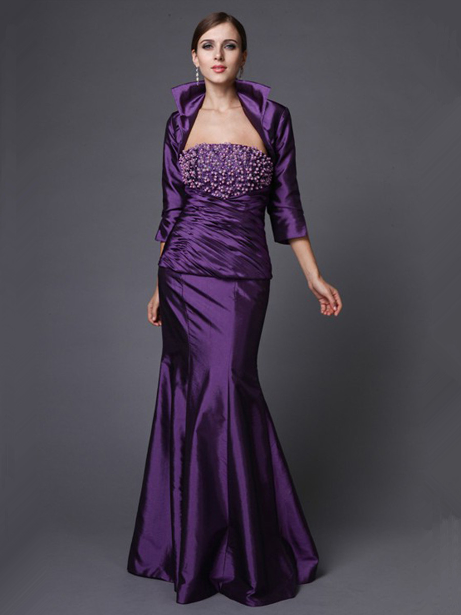 Meerjungfrau Abendkleid Brautmutterkleider Lang Lila Taft Perlen Mit Jacke  Bolero