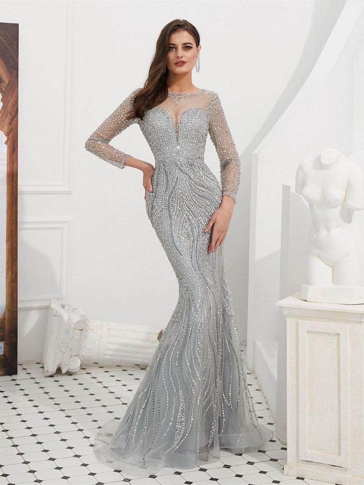 Meerjungfrau Ballkleid Abendkleid Langarm Silber Tull Perlen Pailletten Glitzer