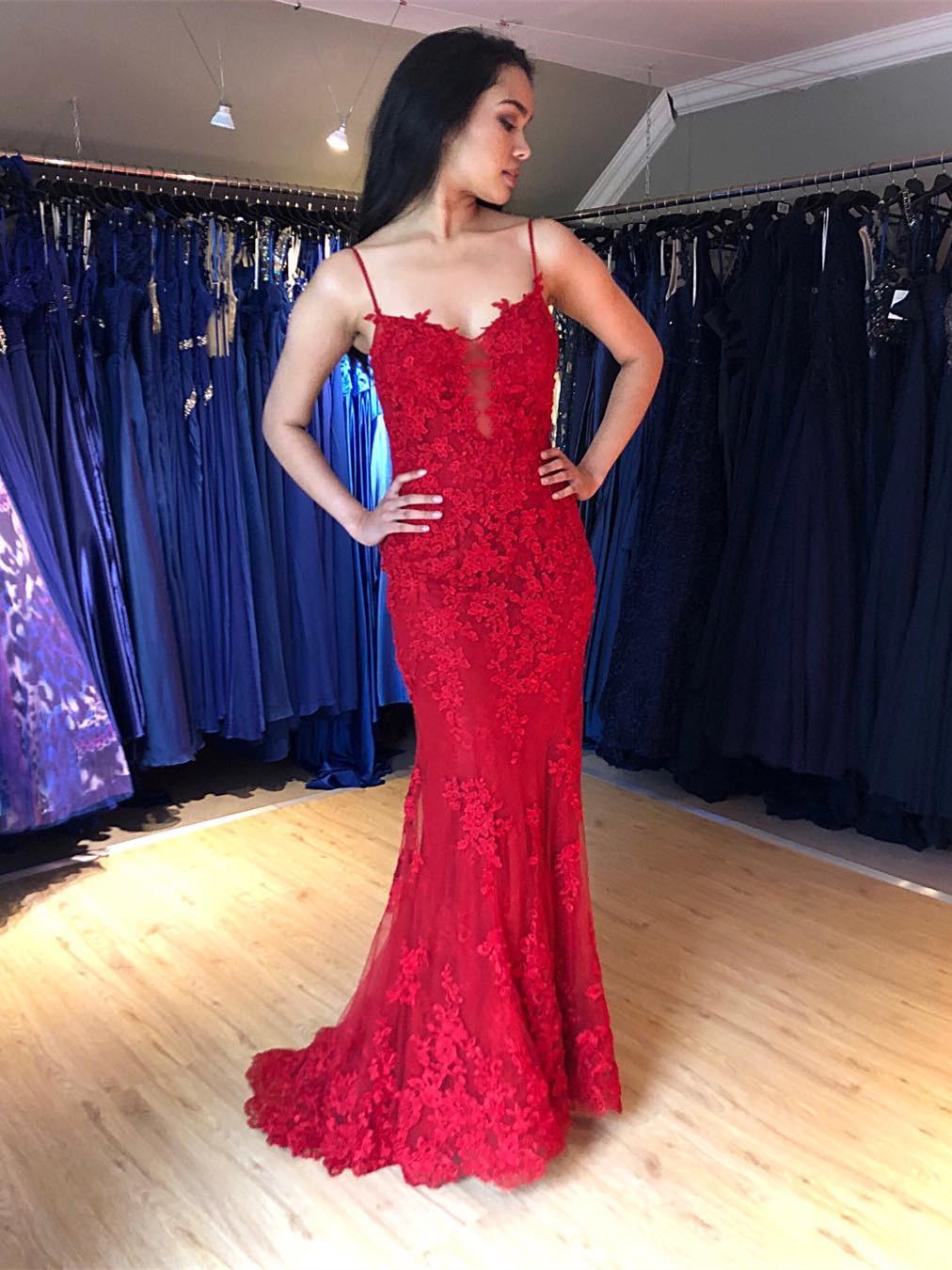 Meerjungfrau Rückenfreies Abendkleid Abiballkleid Lang Rot Spitze Mit  Spaghettiträger