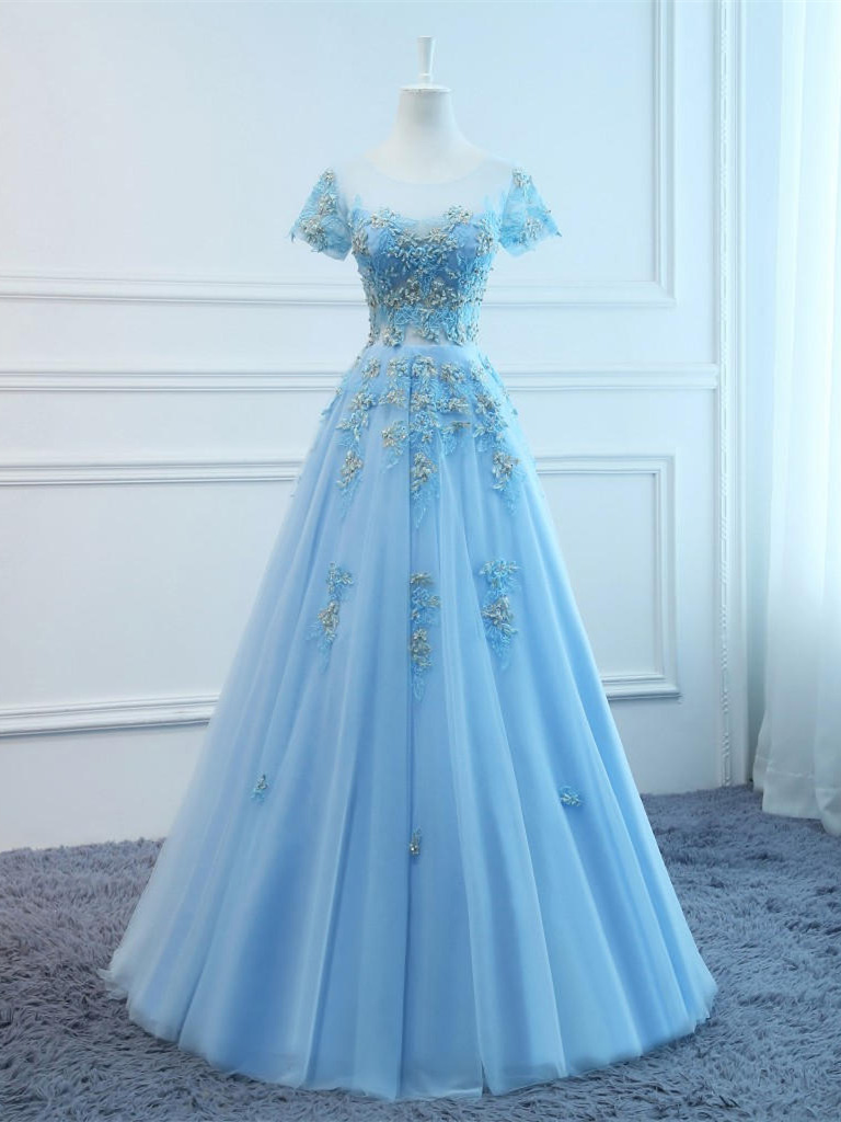 Prinzessin A Linie Ballkleid Lang Hellblau Tüll Blumen Mit Ärmel