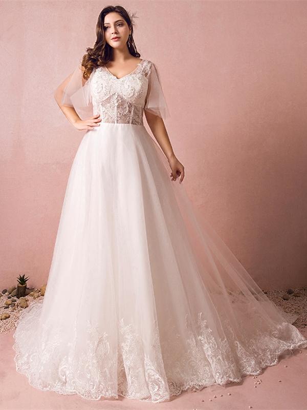beste Turnschuhe 100% authentisch erstklassige Qualität Prinzessin A Linie Brautkleid Große Größen V Ausschnitt Transparent Tüll  Spitze Mit Schleppe
