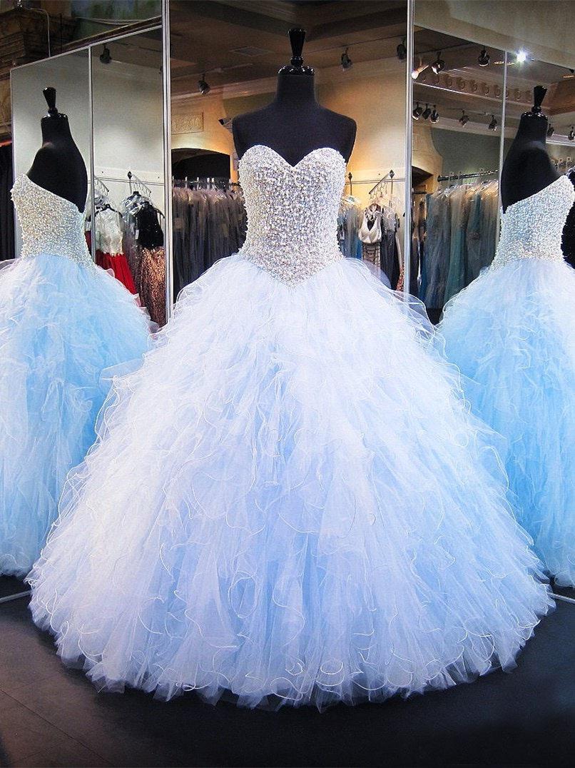 Quinceanera Kleid Duchesse Linie Ballkleid Hellblau Rüschen Perlen  Herzausschnitt