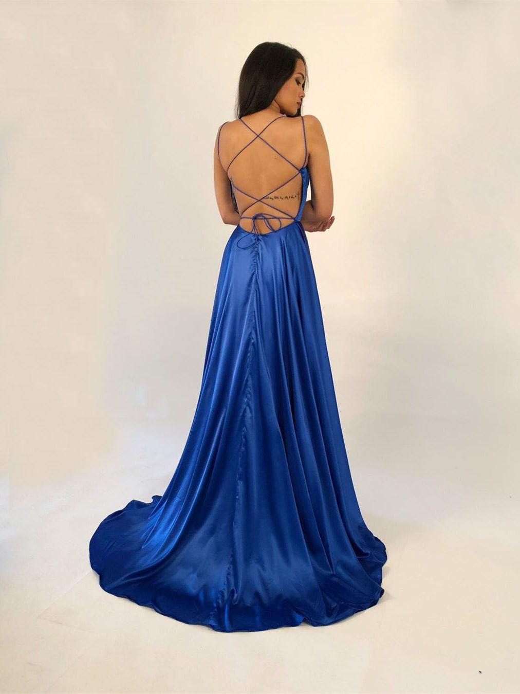rückenfreies abendkleid lang royalblau seide satin mit schleppe gekreuzten  trägern
