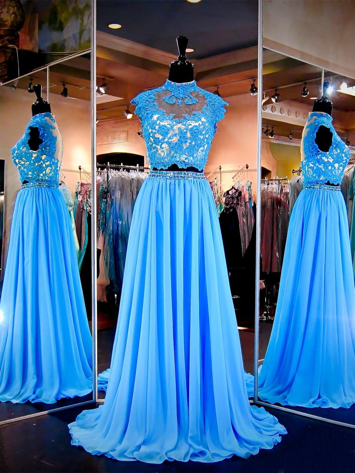 schöne abiballkleid abendkleid zweiteilig stehkragen lang blau chiffon mit  stickerei perlen