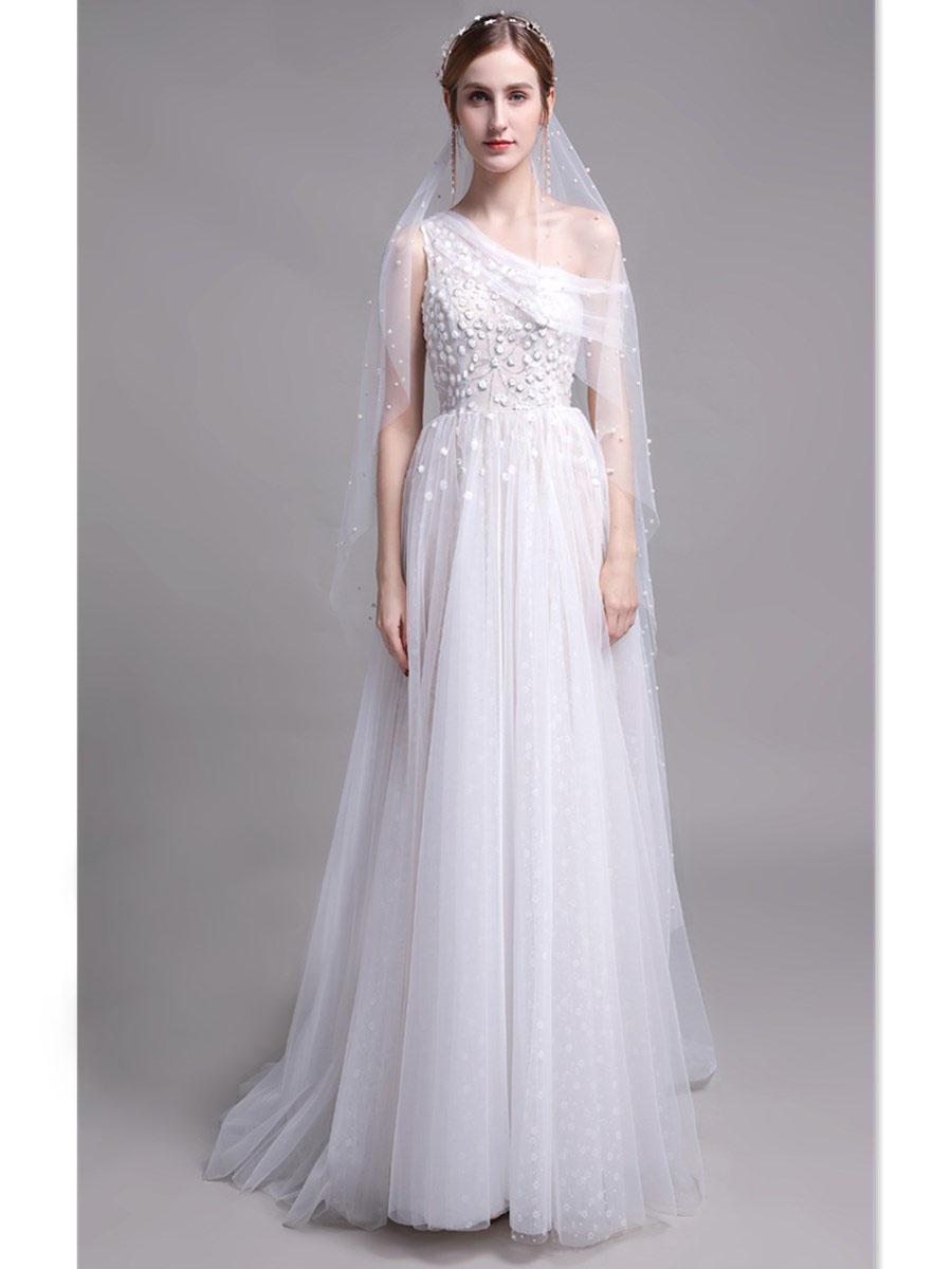 Schöne Brautkleid Landhausstil Asymmetrisch Lang Weiß Tüll Mit Blumen